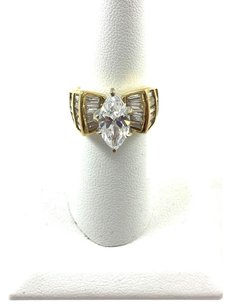 .925 Sterling Silver Gold Overlay Cz Ring