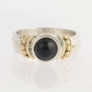 Onyx Ring - Sterling Silver 14k Yellow Gold Womens 34
