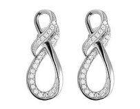 Ladies 10k White Gold Genuine Diamond Infinity Ribbon Dangle Earring .25 Ct