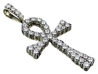 Mens 10k Yellow Gold Real Diamond Flared Solitaire Ankh Cross Pendant 1.35ct 2