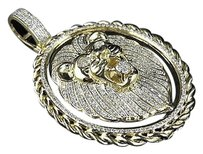 Other Mens 14k Yellow Gold Real Diamond 2.2 Inches Lion Rope Pendant Charm 1.32ct