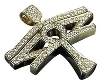 Mens 14k Yellow Gold Real Diamond Horus Evil Eye Ankh Cross Pendant 2.5ct 1.5
