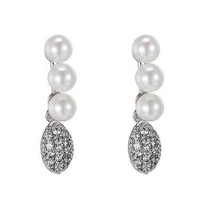 Pearl Design Earrings Drop Down Dangling Silver Tone Simulated Diamonds Womens