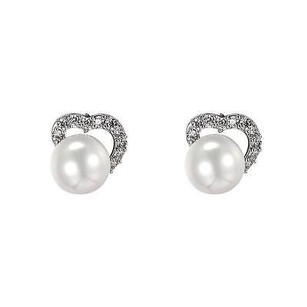 Pearl Heart Earrings Silver Tone Womens Simulated Diamonds Thanksgiving Sale