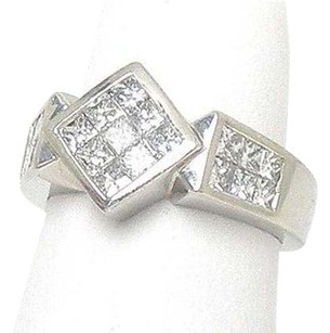 Platinum 1.27ctw Princess Cut Diamond Geometric Shape Cocktail Ring