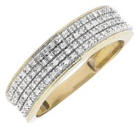 Other Mens 10k Yellow Gold Pave Round Diamond Engagement Wedding Ring Band 0.40ct