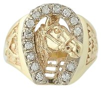 Diamond Equestrian Ring - 14k Yellow White Gold 14 Womens .25ctw