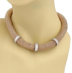 Vintage 2.70ct Diamond 14k Rose White Gold 12mm Beaded Tube Choker Necklace