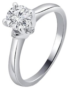 Other Ladies 14k White Gold Genuine Diamond Round Solitaire Engagement Ring 0.53ct