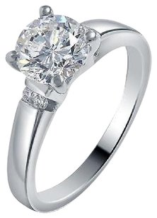 Other Ladies 14k White Gold Genuine Diamond Round Solitaire Engagement Ring 1.06ct