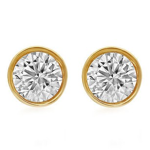 Other 14k Unisex Yellow Gold Round Genuine Diamond Solitaire Bezel Stud Earring 1.0ct