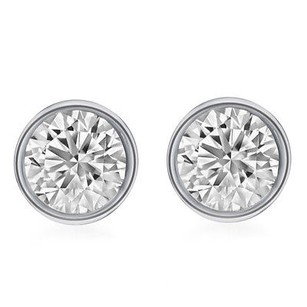 Other 14k Unisex White Gold Round Genuine Diamond Solitaire Bezel Stud Earring 2.0ct