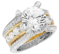 Other Ladies 14k Two Tone Gold Genuine Diamond Semi Mount Engagement Ring 4.90ct 12mm