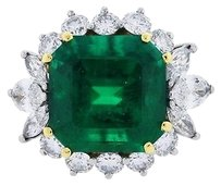 Platinum 18k Yellow Gold 8.52ct Emerald Diamond Ring