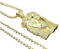 925 Simulated Canary Diamond Mini Jesus Head Charm Chain In Yellow Gold Finish