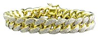 Iced Out Yellow Gold Sterling Silver Miami Cuban Link Lab Diamond Bracelet Mm