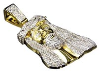 Yellow Gold Over Sterling Silver Lab Diamond Long Haired Jesus Piece Charm 2.0