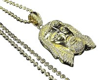Sterling Silver Lab Diamond Hairy Jesus Piece Charm Chain In Yellow Gold Finish