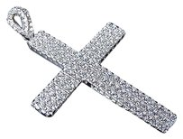 Other Sterling Silver Lab Diamond Ribbon Style Cross Pendant In White Gold Finish 2.0
