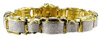 Other Men Yellow Gold Finished Dome Bar Link Genuine Diamond Inch Bracelet 2.0ct.