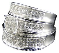 Other .925 Silver Simulated Diamond Bridalengagement Ring Trio Set In White