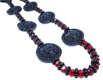 Mens Iced Out Red Lab Ruby Crystal Diamond Black Finish Macrame Style Necklace