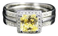 Ladies Sterling Silver Princess Canary Lab Engagement Wedding Diamond Ring Set