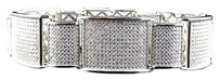 Mens Icy White Gold Over Sterling Silver Simulated Diamond Link Bracelet 8.5