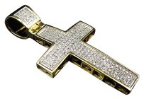 10k Yellow Gold Mini Pave Genuine Diamond Cross Pendant Charm 1.751.10 Ct