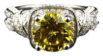 Other White Gold Over .925 Silver Lab Diamond Canary Ribbon Engagement Fashion Ring
