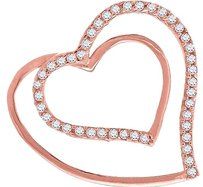 Ladies .925 Silver Lab Diamond Half To Give Heart Pendant In Rose Gold Finish