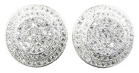 Premium Simulated Lab Diamond Domed Stud Earrings Finished In White Gold