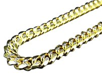 Other Sterling Silver Diamond Cut Cuban Link Chain In Yellow Gold Finish 24-36 7mm