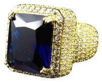 Mens Yellow Finish Blue Sapphire Lab Diamond Sterling Silver Royal Ring