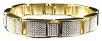 Other Mens Simulated Diamond 3d Micro Pave Style Bracelet In Yellow Gold Finish 11mm