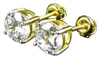 Yellow Gold Over Sterling Silver Simulated Diamond Solitaire Stud Earrings 5mm