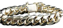 Mens Yellow Gold Finish 925 Sterling Silver Miami Cuban Franco Bracelet