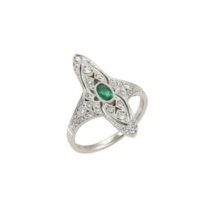 Other Marquise Shaped Diamond Emerald 18k White Gold Milgrain Ring -