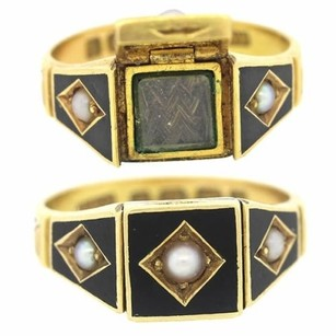 1860s Antique Victorian 18k Solid Gold Mourning Hair Enamel Pearl Band Ring Sz6