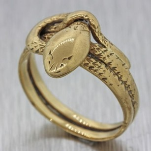 1870s Antique Victorian Estate 14k Solid Yellow Gold Carved Snake Serpent Ring