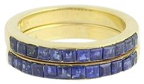 Sapphire Ring Set - 18k Gold September Stackable Bands 3.36ctw