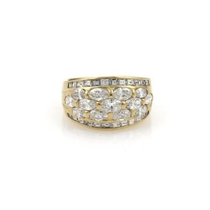 Other 2.5ct Marquee Square Diamond 18k Yellow Gold Wide Dome Band Ring