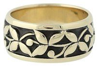 Flower Garland Band - 14k Yellow Gold Womens Band