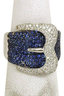 Lovely 4ct Diamonds Sapphires 18k White Gold Buckle Design Band Ring