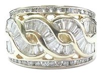 Other Fine Round Baguette Wide Yellow Gold Jewelry Ring 12.7mm 1.21ct Sz 6