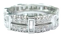 Platinum,Round,Baguette,Diamond,Eternity,Band,Ring,Sz,6.75,6mm,1.54ct