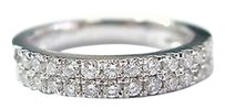 18kt,2-row,Pave,Round,Diamond,White,Gold,Jewelry,Ring,.42ct