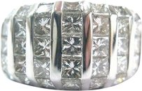 Fine Princess Cut Diamond Cluster White Gold Jewelry Ring 7-row 4.26ct