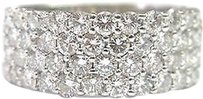 Fine Round Brilliant Diamond Wide 4-row Band Ring Wg 2.03ct