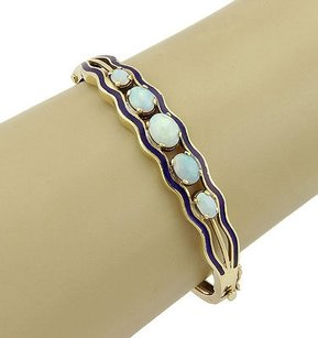 Estate,14k,Yellow,Gold,Opal,Bangle,Bracelet,With,Blue,Enamel